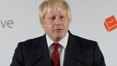 Vote Leave campaigner Boris Johnson holds a press conference at Vote Leave headquarters  in London on Friday.