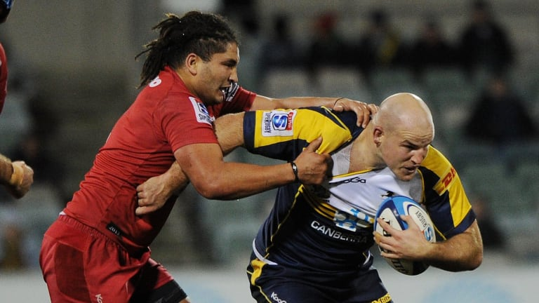 Saia Fainga'a, left, will replace Stephen Moore, right, at the Brumbies next year.