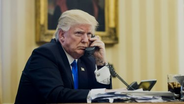 US President Donald Trump speaks on the phone with Malcolm Turnbull on Sunday morning.