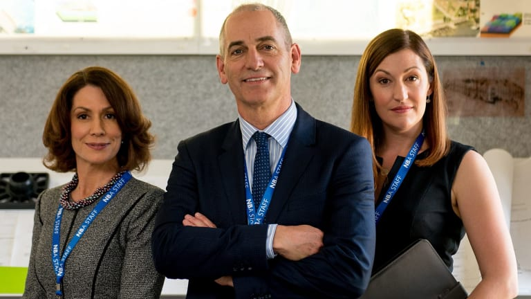 Good intentions: From left, Kitty Flanagan, Rob Sitch and Celia Pacquola in Utopia.