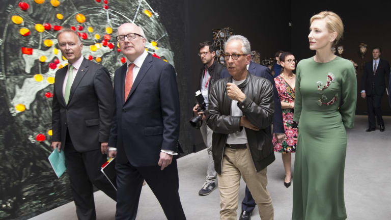 Australia Council chair Rupert Myer and federal Arts Minister George Brandis view the new Australian Pavilion in Venice with Simon Mordant and Cate Blanchett.