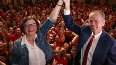 Labor's Ged Kearney celebrates her federal byelection win with Bill Shorten.