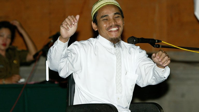 Amrozi bin Nurhasyim in court after being given the death sentence for his role in the Bali bombing.