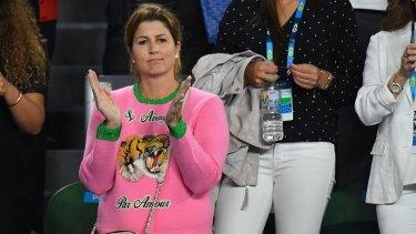 Mirka Federer watches the semi final match between her husband Roger Federer and Stan Wawrinka.