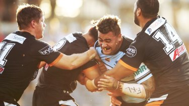 """Centre of controversy: Andrew Fifita with his """"FKL"""" bandage."""