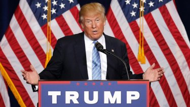 Republican presidential candidate Donald Trump speaks during a campaign rally in Phoenix.