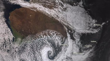 A satellite image shows the storm over South Australia on Wednesday.