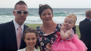 Kate Goodchild and partner David Turner with children Ebony, left, and Evie, right, in a picture released by the family.