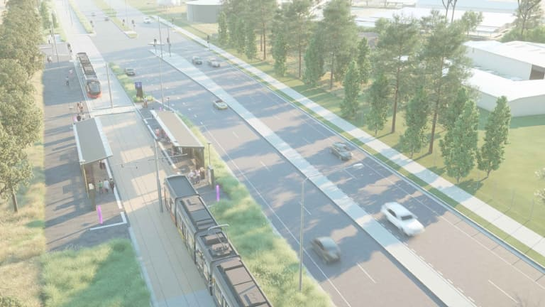 An artist's impression of the planned tram stop at Exhibition Park, which will now be on the side of the road instead of the median strip.