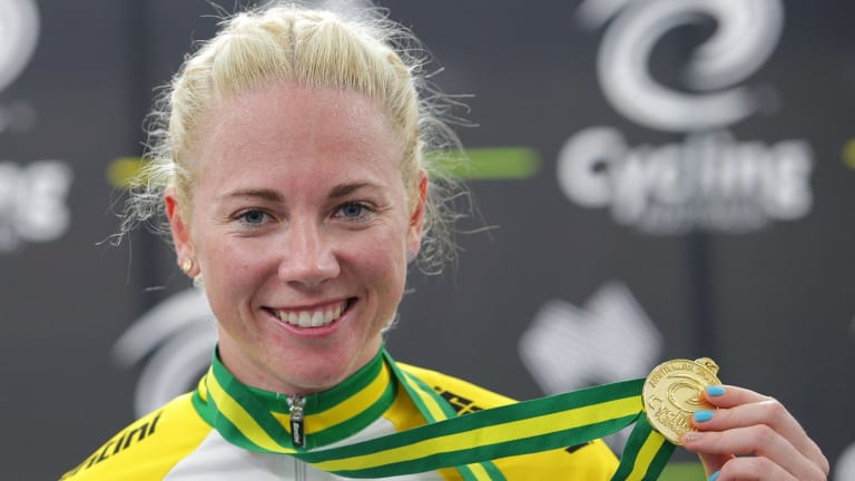 Sprint queen: Kaarle McCulloch wins the women's keirin for NSW at the Australian Track Cycling titles.