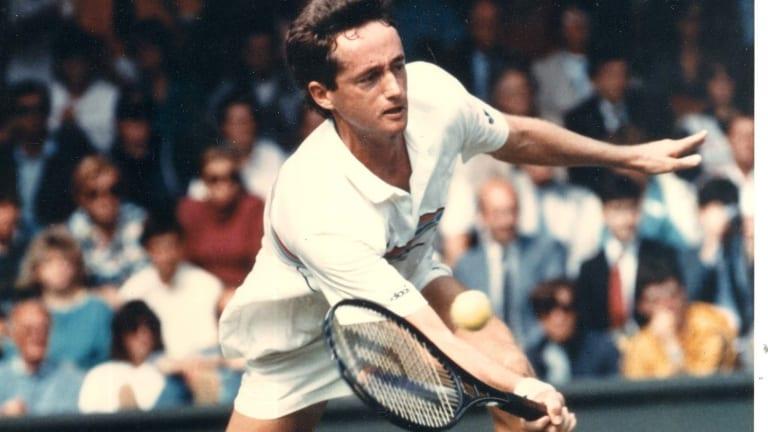 Peter Doohan playing at Wimbledon in 1987 where he beat Boris Becker to make it into the final 16.