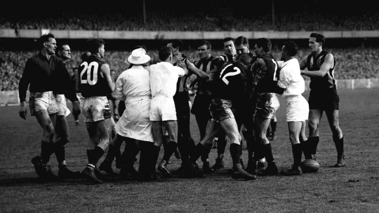 Mick Twomey was involved in this scrap during the 1958 grand final.
