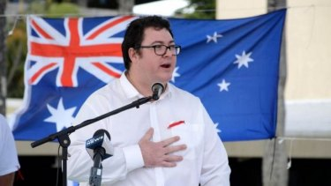 George Christensen speaks at a Reclaim Australia rally in Mackay on July 19.