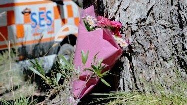 Flowers were left near the shallow grave where Karen Ristevski's body was found on Monday.
