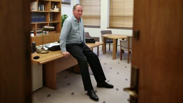 Agriculture Minister Barnaby Joyce inside his Parliament House office.