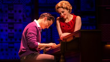 Mat Verevis as Barry Mann and Lucy Maunder as Cynthia Weil in Beautiful.