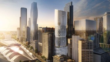 The tiered building, wrapped in white latticework, will rise 54 storeys above the western end of Collins Street.
