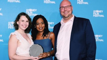 Mirene Igwabi with Grace Julia (left) and executive producer Stephen Lance at the Sydney Film Festival.