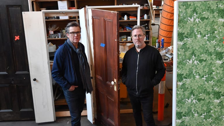 Keith Courtney, left, and Christian Wagstaff with some of the doors for their Melbourne Festival project.