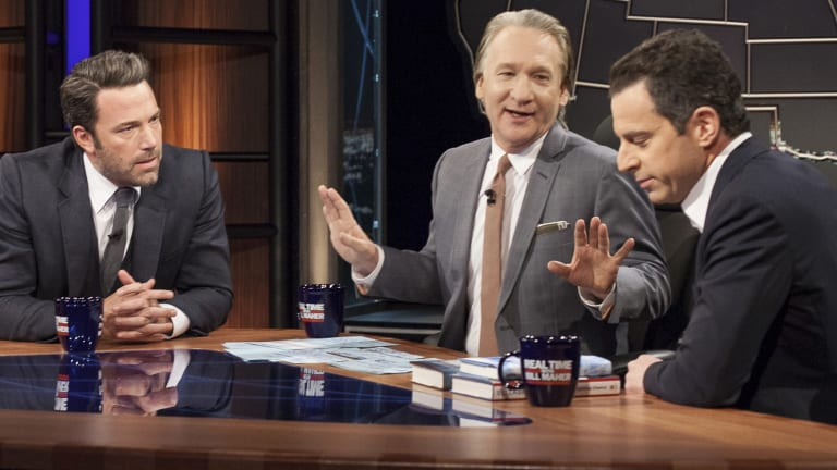 Ben Affleck (left), Bill Maher (centre) and Sam Harris on 'Real Time With Bill Maher'.