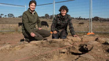 Archaeological dig of 19th century school house in Googong. ANU archaeologist Dr Duncan Wright and principal archaeologist Dr Rebecca Parkes.