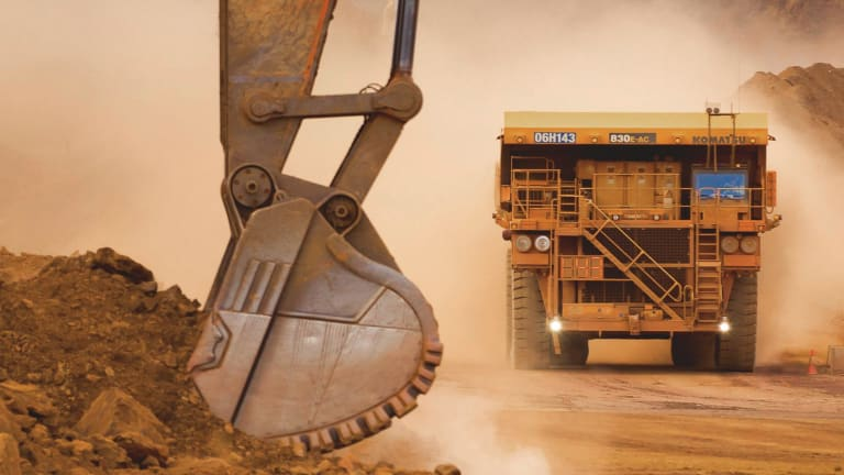 Coming through: Rio Tinto uses self-driving trucks in its  West Australian mining operations.