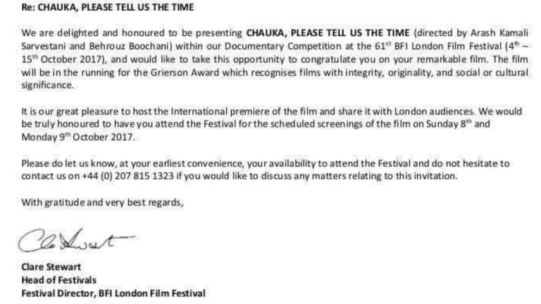 The official invite from the London Film Festival to Behrouz Boochani.
