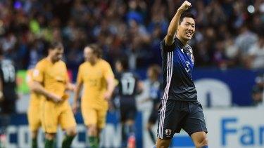 Breakthrough: Gen Shoji celebrates a goal by Japan.