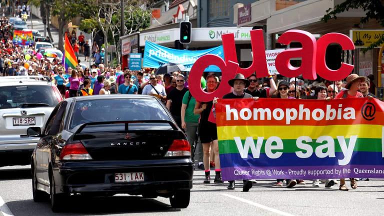 The 2014 Brisbane Pride march making its way down Brunswick Street.