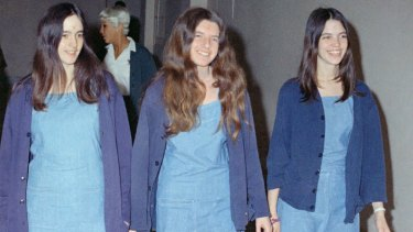 Charles Manson followers, from left: Susan Atkins, Patricia Krenwinkel and Leslie Van Houten, shown walking to court to appear for their roles in the 1969 cult killings of seven people, including actress Sharon Tate, in California.