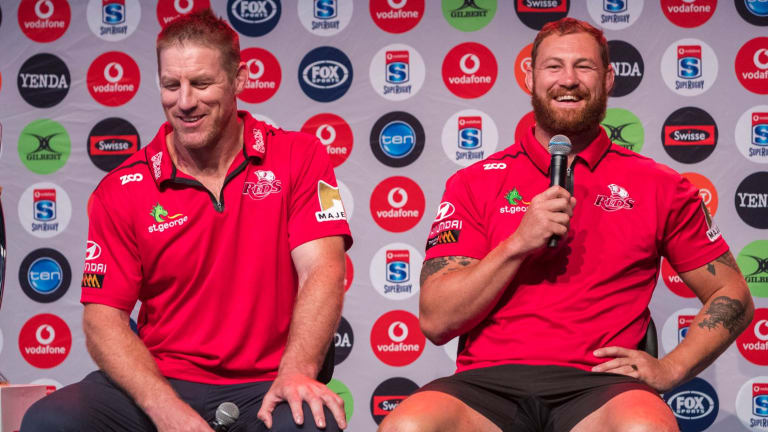 Lighter moment: Brad Thorn and captain Scott Higginbotham at the launch of the 2018 Super Rugby Season at the Brisbane Powerhouse.