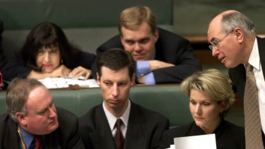 Niki Savva with current speaker Tony Smith and other former advisers to prime minister John Howard in 2001.