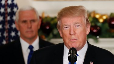 President Donald Trump making his statement about recognising Jerusalem as Israel's capital despite intense Arab, Muslim and European opposition.