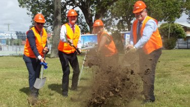 Turning of the sod at the Woolworths and Library development at Wynnum. From left, De Luca Corporation General Manager Nic De Luca, Lord Mayor Graham Quirk, Cr Krista Adams and Woolworths Queensland manager Michael Lange. Photo: supplied