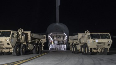 The first components of the High Altitude Area Defence (THAAD) missile defence system arrive at the Osan Air Base outside Seoul.