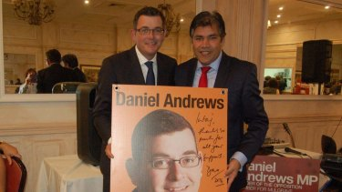 Cr Khan accepts the thanks of Daniel Andrews.