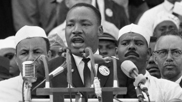 "Dr. Martin Luther King Jr. addresses marchers during his ""I Have a Dream"" speech at the Lincoln Memorial in Washington on August 28, 1963."