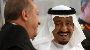 Turkish President Recep Tayyip Erdogan, left, meets with Saudi King Salman, in Jiddah, Saudi Arabia, on Sunday.