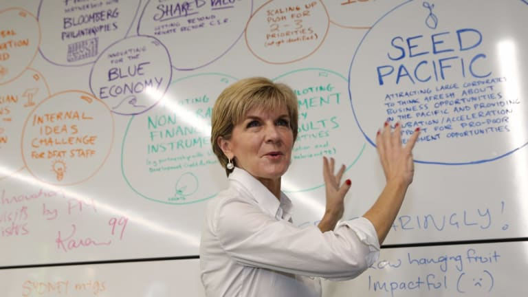 """Julie Bishop in her department's """"Innovation Xchange"""" unit in 2015, which develops ideas for delivering aid differently."""