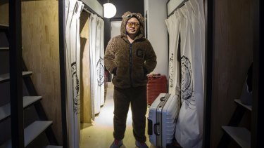 Tyler Xiong at his apartment, which he shares with 3 other employees, at You+.