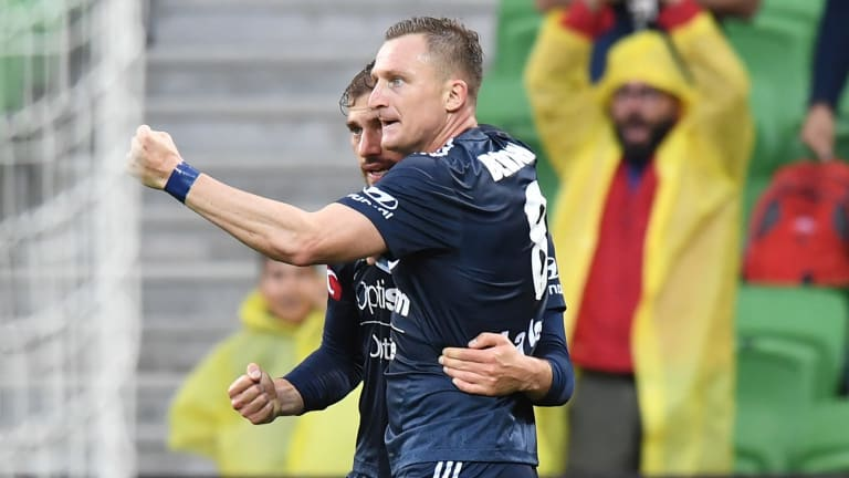 Besart Berisha congratulates James Troisi after Troisi's goal for Victory.