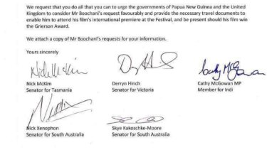 The letter sent by MPs to Foreign Minister Julie Bishop and Immigration Minister Peter Dutton.