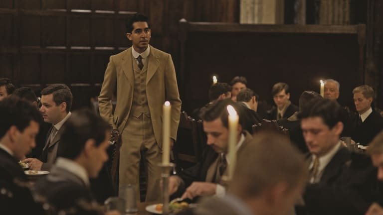 Dev Patel as mathematician Srinivasa Ramanujan in <i>The Man Who Knew Infinity</i>.