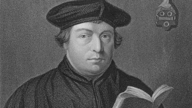 An engraving of German religious reformer Martin Luther (1483-1546).