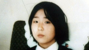 Megumi Yokota, then 13, in a photo taken at an unknown location in North Korea after her abduction from Japan.