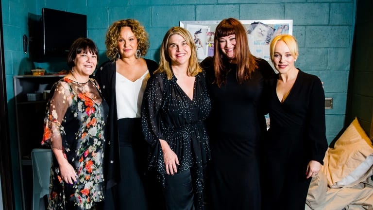 Foxtel's head of drama Penny Win, Leah Purcell, Fremantle Media's head of drama Jo Porter,Katrina Milosevic and Susie Porter at the announcement that Foxtel has commissioned prison drama Wentworth for an additional 20 episodes.