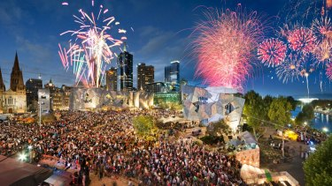 New Year's Eve fireworks in Federation Square, Melbourne