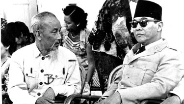 Ho Chi Minh, then president of North Vietnam, chats with Sukarno in Indonesia in 1959.