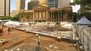 Brisbane's King George Square under redevelopment in January 2009.