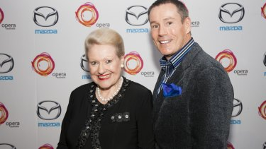 Bronwyn Bishop and entertainment reporter Craig Bennett on the red carpet at an Opera Australia performance of <em> La Boheme</em> at The Domain in 2013.